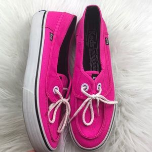 Like new Keds pink boat shoes 9